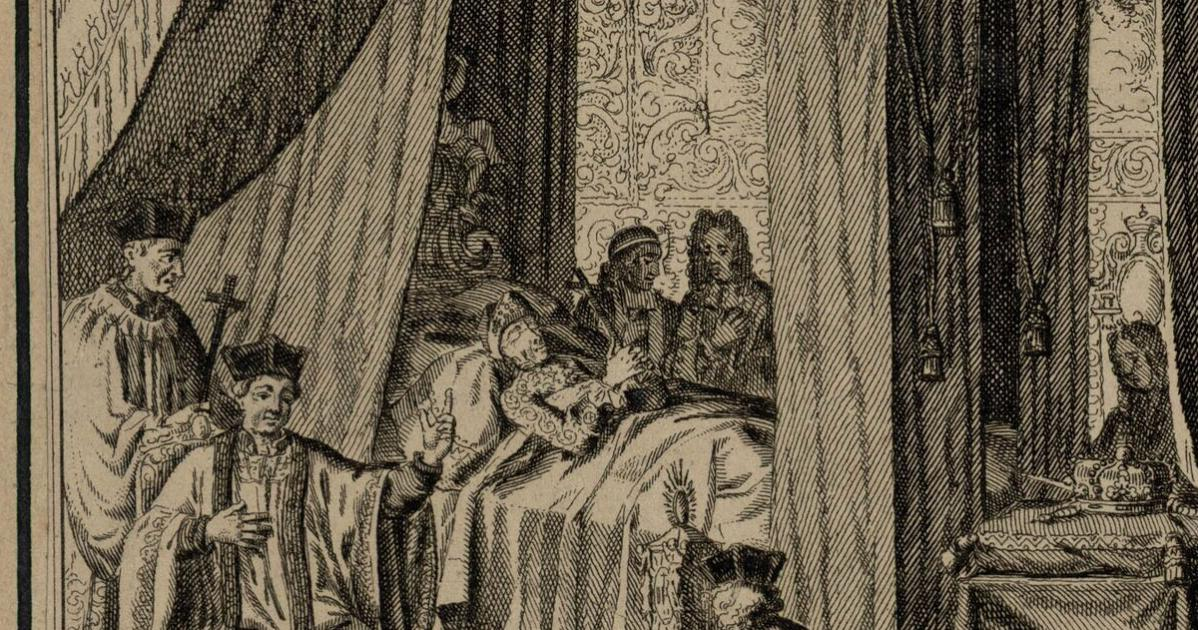 The death of Louis XIV: two days before his death he shouted to his weeping